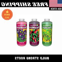 3 Pack General Hydroponics Flora Grow Bloom Micro Combo Fert