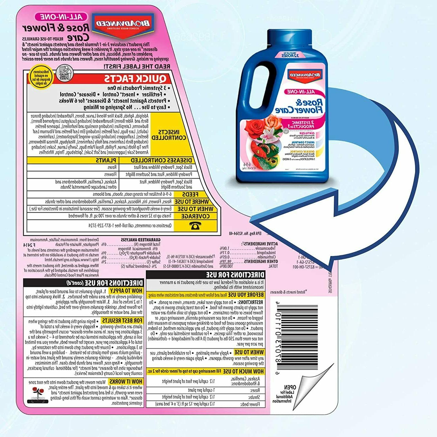 Bayer Advanced All in Rose and Flower Granules, 4-Pound NEW