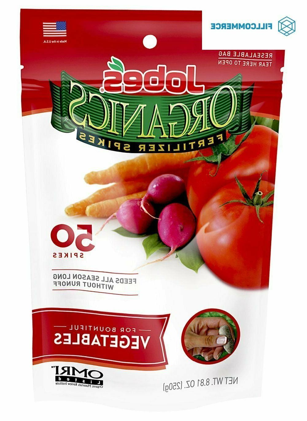 jobes organics 50ct vegetable and tomato spikes
